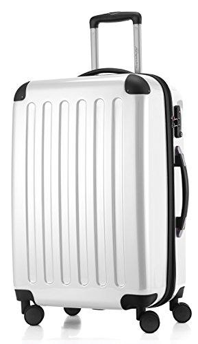 HAUPTSTADTKOFFER - Alex - Hartschalenkoffer Trolley Rollkoffer Reisekoffer Erweiterbar, TSA, Doppelrollen, 65 cm, 74 Liter, Weiß