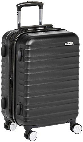 AmazonBasics - Hochwertiger Hartschalen-Trolley mit Schwenkrollen und eingebautem TSA-Schloss - 55 cm, Handgepäck, Schwarz, Genehmigt als Handgepäck auf vielen Airlines