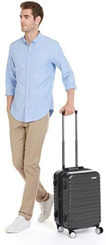 AmazonBasics – Hochwertiger Hartschalen-Trolley mit Schwenkrollen und eingebautem TSA-Schloss – 55 cm, Handgepäck, Schwarz, Genehmigt als Handgepäck auf vielen Airlines - 3