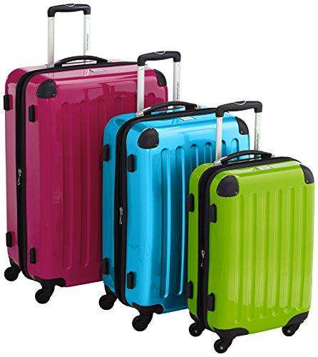 HAUPTSTADTKOFFER® · 3er Hartschalen Kofferset · Handgepäck 45 Liter Apfelgrün + Koffer 87 Liter Blau + Koffer 130 Liter Magenta