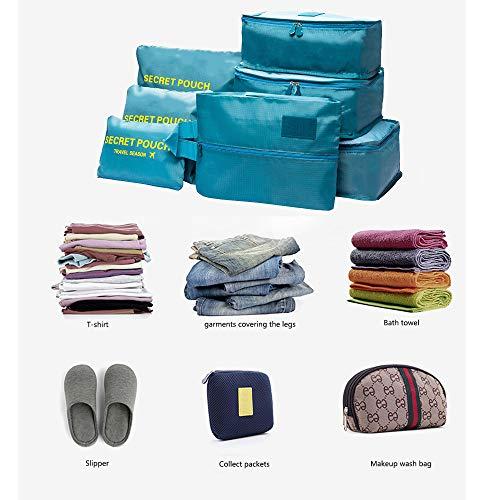 DoGeek Kleidertaschen Packing Cubes Satz von 7 Reise Kleidertaschen Verpackungswürfel Organizer Ideal für Seesäcke, Handgepäck und Rucksäcke- Blauer See - 2