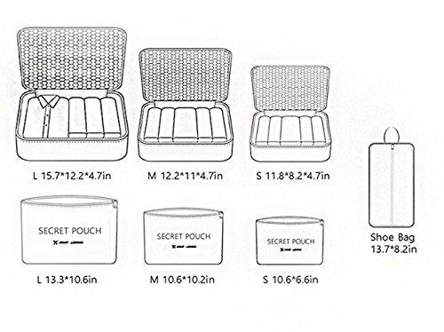 DoGeek Kleidertaschen Packing Cubes Satz von 7 Reise Kleidertaschen Verpackungswürfel Organizer Ideal für Seesäcke, Handgepäck und Rucksäcke- Blauer See - 3