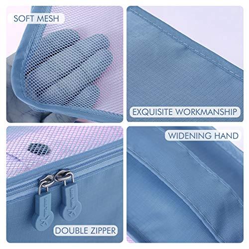DoGeek Kleidertaschen Packing Cubes Satz von 7 Reise Kleidertaschen Verpackungswürfel Organizer Ideal für Seesäcke, Handgepäck und Rucksäcke- Blauer See - 4