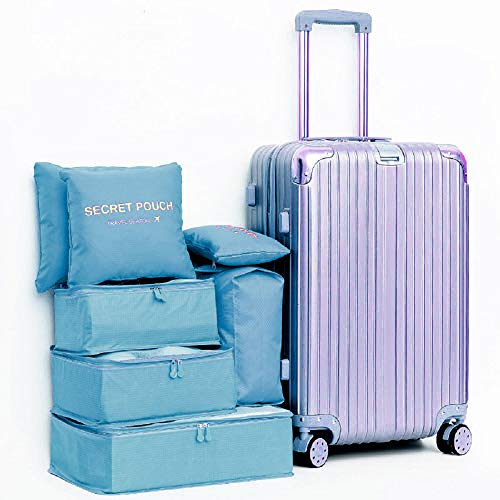 DoGeek Kleidertaschen Packing Cubes Satz von 7 Reise Kleidertaschen Verpackungswürfel Organizer Ideal für Seesäcke, Handgepäck und Rucksäcke- Blauer See - 5