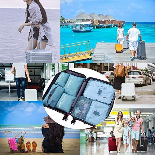 DoGeek Kleidertaschen Packing Cubes Satz von 7 Reise Kleidertaschen Verpackungswürfel Organizer Ideal für Seesäcke, Handgepäck und Rucksäcke- Blauer See - 7