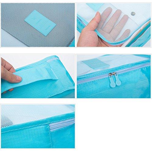 Koffer Organizer Reise Kleidertaschen, EASEHOME 6 Stück Wasserdichte Kofferorganizer Packtaschen Reisegepäck für Kleidung Schuhe Unterwäsche Kosmetik, Rose - 2