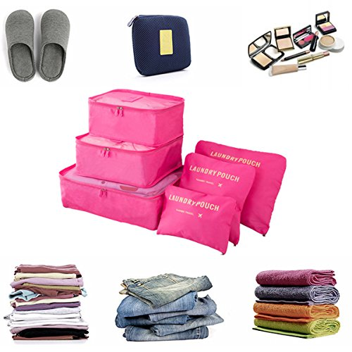 Koffer Organizer Reise Kleidertaschen, EASEHOME 6 Stück Wasserdichte Kofferorganizer Packtaschen Reisegepäck für Kleidung Schuhe Unterwäsche Kosmetik, Rose - 3
