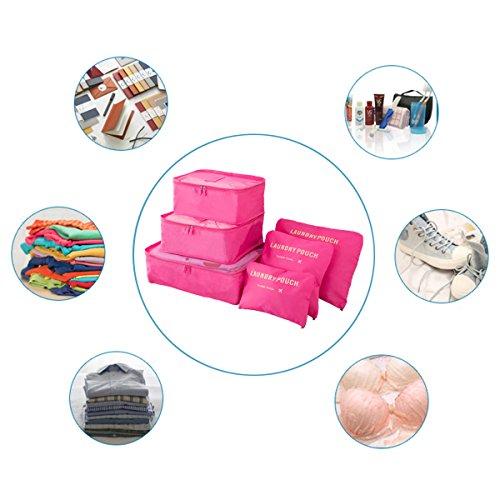 Koffer Organizer Reise Kleidertaschen, EASEHOME 6 Stück Wasserdichte Kofferorganizer Packtaschen Reisegepäck für Kleidung Schuhe Unterwäsche Kosmetik, Rose - 4