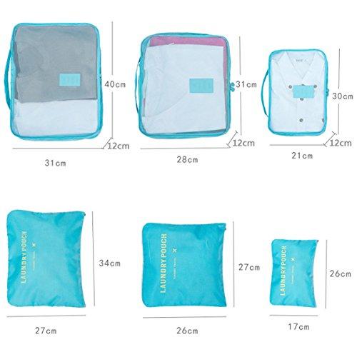 Koffer Organizer Reise Kleidertaschen, EASEHOME 6 Stück Wasserdichte Kofferorganizer Packtaschen Reisegepäck für Kleidung Schuhe Unterwäsche Kosmetik, Rose - 5