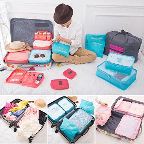 Koffer Organizer Reise Kleidertaschen, EASEHOME 6 Stück Wasserdichte Kofferorganizer Packtaschen Reisegepäck für Kleidung Schuhe Unterwäsche Kosmetik, Rose - 6