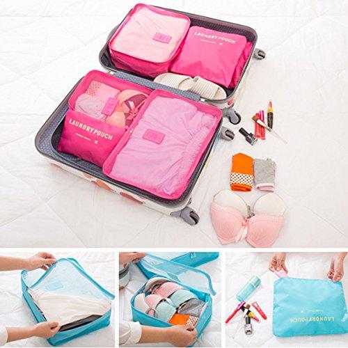 Koffer Organizer Reise Kleidertaschen, EASEHOME 6 Stück Wasserdichte Kofferorganizer Packtaschen Reisegepäck für Kleidung Schuhe Unterwäsche Kosmetik, Rose - 7