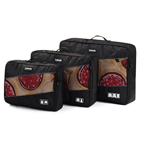 Tyhbelle Kleidertasche Packing Cubes Packwürfel im 7-teiligen Sparset Ultra-leichte Gepäckverstauer Ideal für Reise, Seesäcke, Handgepäck und Rucksäcke (7-teiliges Set, Schwarz) - 3