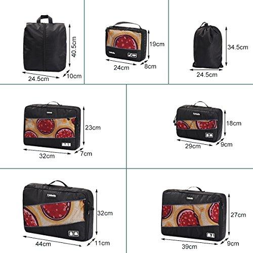 Tyhbelle Kleidertasche Packing Cubes Packwürfel im 7-teiligen Sparset Ultra-leichte Gepäckverstauer Ideal für Reise, Seesäcke, Handgepäck und Rucksäcke (7-teiliges Set, Schwarz) - 6