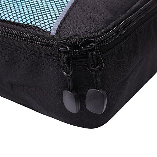 Tyhbelle Kleidertasche Packing Cubes Packwürfel im 7-teiligen Sparset Ultra-leichte Gepäckverstauer Ideal für Reise, Seesäcke, Handgepäck und Rucksäcke (7-teiliges Set, Schwarz) - 7