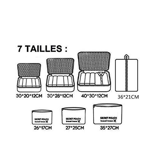 7 Set Kleidertaschen - 3 Packwürfel + 3 Taschen Tasche + 1 Schuhtasche - Perfekter Reisegepäck-Organizer(Wine red) - 2
