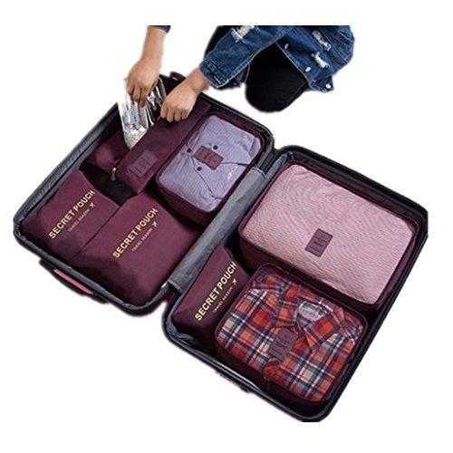 7 Set Kleidertaschen - 3 Packwürfel + 3 Taschen Tasche + 1 Schuhtasche - Perfekter Reisegepäck-Organizer(Wine red) - 3