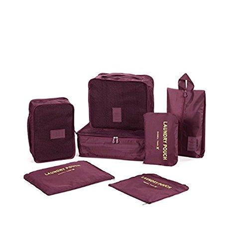 7 Set Kleidertaschen - 3 Packwürfel + 3 Taschen Tasche + 1 Schuhtasche - Perfekter Reisegepäck-Organizer(Wine red) - 4