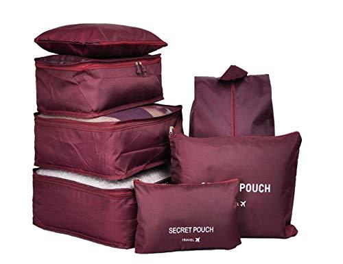 7 Set Kleidertaschen - 3 Packwürfel + 3 Taschen Tasche + 1 Schuhtasche - Perfekter Reisegepäck-Organizer(Wine red) - 5