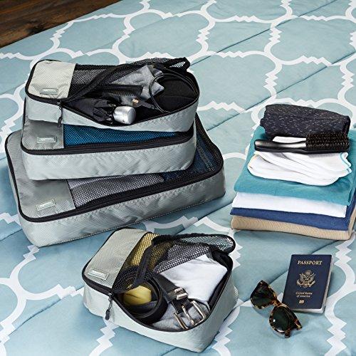 AmazonBasics Kleidertaschen-Set, 4-teilig, je 1 kleine, mittelgroße, große und schmale Packtasche, Grau - 2