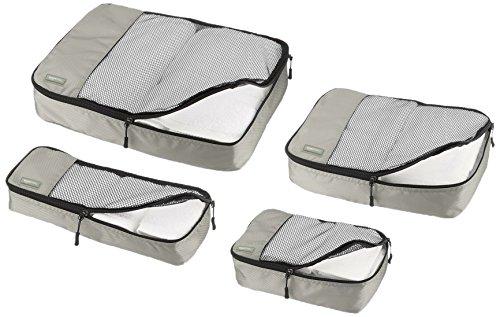 AmazonBasics Kleidertaschen-Set, 4-teilig, je 1 kleine, mittelgroße, große und schmale Packtasche, Grau - 3