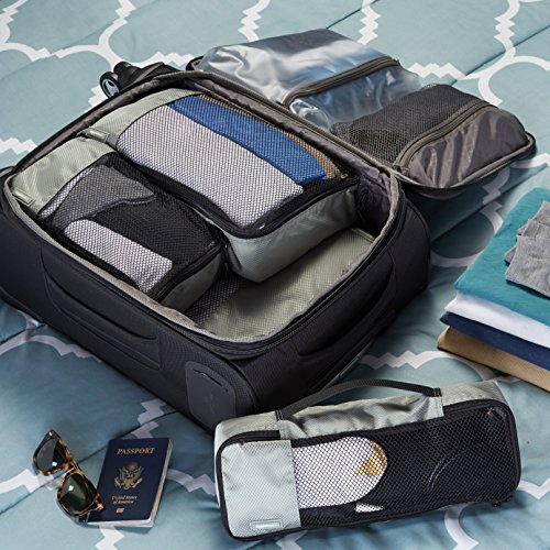 AmazonBasics Kleidertaschen-Set, 4-teilig, je 1 kleine, mittelgroße, große und schmale Packtasche, Grau - 4