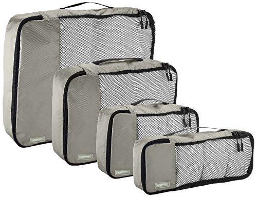 AmazonBasics Kleidertaschen-Set, 4-teilig, je 1 kleine, mittelgroße, große und schmale Packtasche, Grau - 5