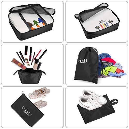 Koffer Organizer 9 Teilig, mit 5 Packtaschen und EIN Kordelzugbeutel Schuhbeutel Kabel Aufbewahrungstasche Kosmetiktasche für Kofferorganizer Reise Würfel - 3