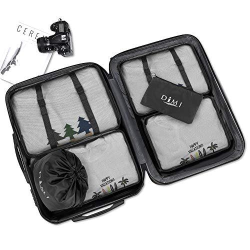 Koffer Organizer 9 Teilig, mit 5 Packtaschen und EIN Kordelzugbeutel Schuhbeutel Kabel Aufbewahrungstasche Kosmetiktasche für Kofferorganizer Reise Würfel - 4