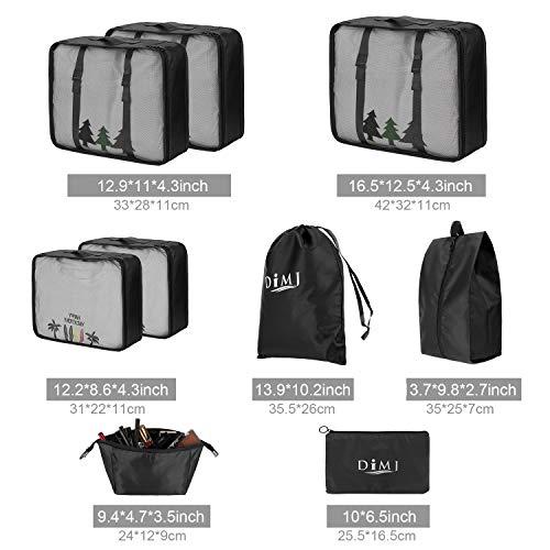 Koffer Organizer 9 Teilig, mit 5 Packtaschen und EIN Kordelzugbeutel Schuhbeutel Kabel Aufbewahrungstasche Kosmetiktasche für Kofferorganizer Reise Würfel - 6