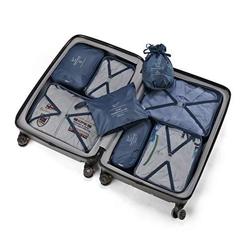 Koffer Organizer Reise Kleidertaschen 8 Sets/7 Farben Travel Gep?ck Organisatoren enthalten Wasserdichte Schuh-Aufbewahrungsbeutel Bequeme Kompressions Beutel f¨¹r Reisende£¨Marine£© ¡ - 7