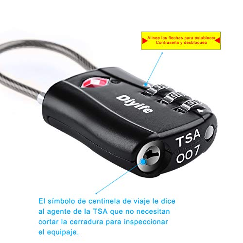[2 Stück] TSA Gepäckschlösser, Diyife 3-stelliges Sicherheitsschloss, Kombinationsschlösser, Codeschloss für Reisekoffer Gepäcktasche Etui etc. (Schwarz) - 4