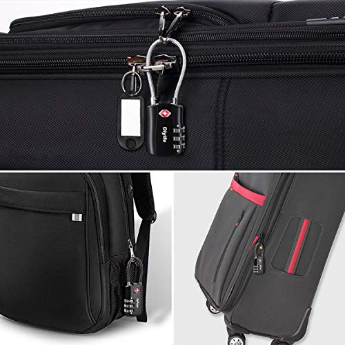 [2 Stück] TSA Gepäckschlösser, Diyife 3-stelliges Sicherheitsschloss, Kombinationsschlösser, Codeschloss für Reisekoffer Gepäcktasche Etui etc. (Schwarz) - 6