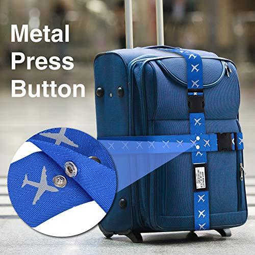 Mture Koffergurt, Gepäckgurt 4 Stück Einstellbare Kofferband Hochwertige Lange Koffergurte zum Sicheren Verschließen der Koffers auf Reisen und Kennzeichnen von Gepäck - 3