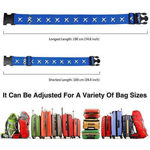 Mture Koffergurt, Gepäckgurt 4 Stück Einstellbare Kofferband Hochwertige Lange Koffergurte zum Sicheren Verschließen der Koffers auf Reisen und Kennzeichnen von Gepäck - 6