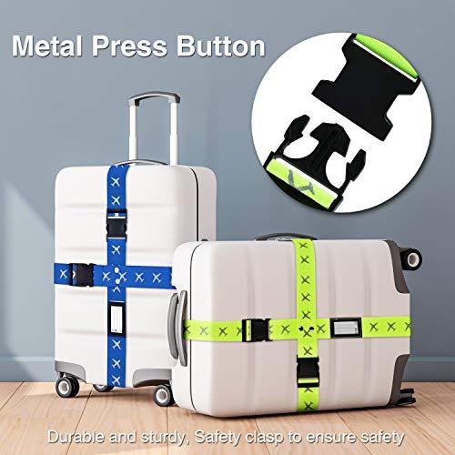 Mture Koffergurt, Gepäckgurt 4 Stück Einstellbare Kofferband Hochwertige Lange Koffergurte zum Sicheren Verschließen der Koffers auf Reisen und Kennzeichnen von Gepäck - 7