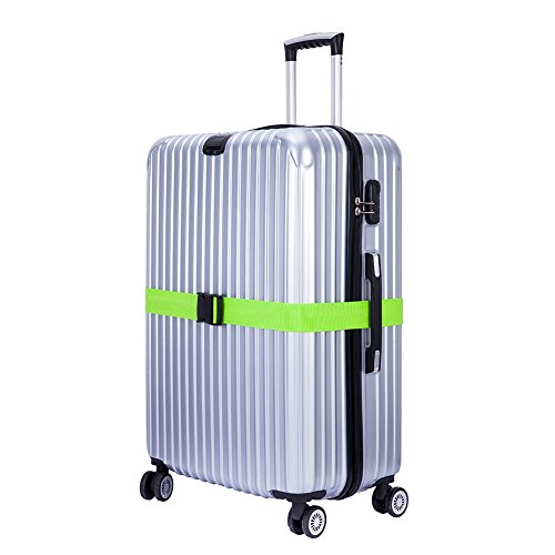 CSTOM 2 Stück Koffergurt Kofferband Koffer Gepäckgurte Lang, Grün - 5
