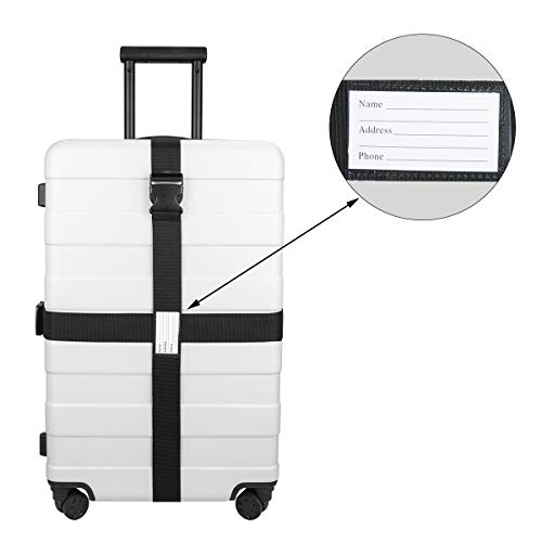 Luxebell Gepäckgurt, 2 Stück Koffergurt Kofferband Koffer Gepäckgurte Lang (Schwarz) - 2