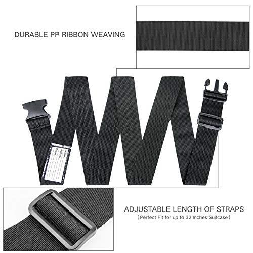 Luxebell Gepäckgurt, 2 Stück Koffergurt Kofferband Koffer Gepäckgurte Lang (Schwarz) - 4