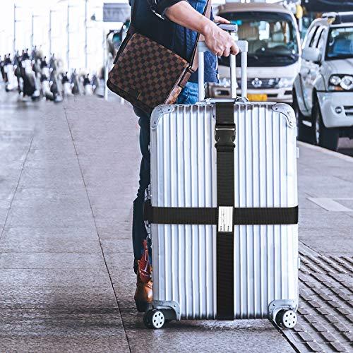 Luxebell Gepäckgurt, 2 Stück Koffergurt Kofferband Koffer Gepäckgurte Lang (Schwarz) - 6
