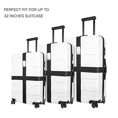 Luxebell Gepäckgurt, 2 Stück Koffergurt Kofferband Koffer Gepäckgurte Lang (Schwarz) - 7