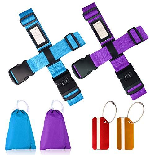 Koffergurt Set - Tencoz Kofferband Gurt Gepäckgurt 4 Stück zum sicheren Verschließen der Koffers auf Reisen + GRATIS 2 Kofferanhänger - Kofferband Gurt Kreuz verstellbar & Rutschfest (Blau + Lila)