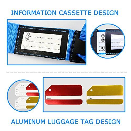 Koffergurt Set - Tencoz Kofferband Gurt Gepäckgurt 4 Stück zum sicheren Verschließen der Koffers auf Reisen + GRATIS 2 Kofferanhänger - Kofferband Gurt Kreuz verstellbar & Rutschfest (Blau + Lila) - 2
