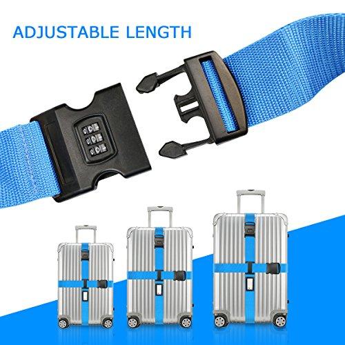 Koffergurt Set - Tencoz Kofferband Gurt Gepäckgurt 4 Stück zum sicheren Verschließen der Koffers auf Reisen + GRATIS 2 Kofferanhänger - Kofferband Gurt Kreuz verstellbar & Rutschfest (Blau + Lila) - 3