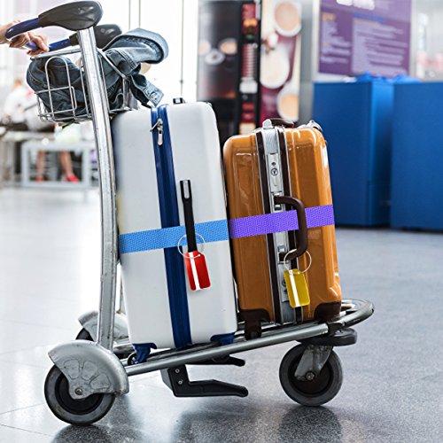 Koffergurt Set - Tencoz Kofferband Gurt Gepäckgurt 4 Stück zum sicheren Verschließen der Koffers auf Reisen + GRATIS 2 Kofferanhänger - Kofferband Gurt Kreuz verstellbar & Rutschfest (Blau + Lila) - 4