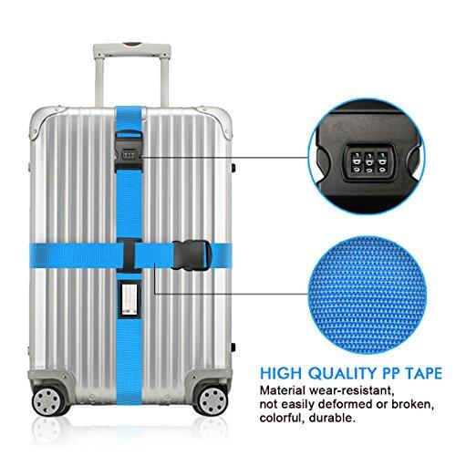 Koffergurt Set - Tencoz Kofferband Gurt Gepäckgurt 4 Stück zum sicheren Verschließen der Koffers auf Reisen + GRATIS 2 Kofferanhänger - Kofferband Gurt Kreuz verstellbar & Rutschfest (Blau + Lila) - 6