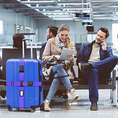 Koffergurt Set - Tencoz Kofferband Gurt Gepäckgurt 4 Stück zum sicheren Verschließen der Koffers auf Reisen + GRATIS 2 Kofferanhänger - Kofferband Gurt Kreuz verstellbar & Rutschfest (Blau + Lila) - 7