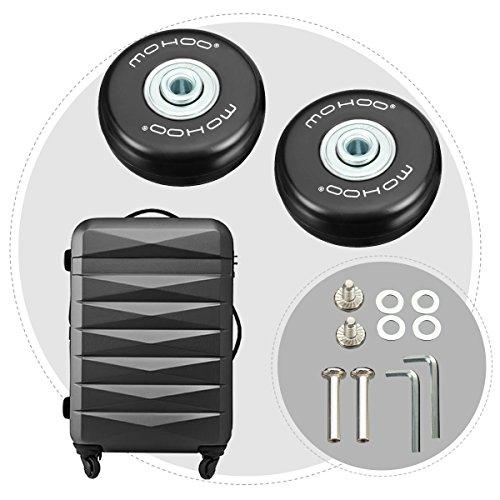 Kofferrollen MOHOO 50x18mm ersatzrollen Gummi Rollen Räder ein Paar mute ersatz Wheels für Gepäck-Koffer - 4
