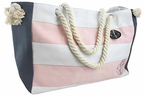 Sonia Originelli XL Strandtasche Beach Tasche Kordel groß Streifen gestreift Maritim Seil T023 (Rosa)
