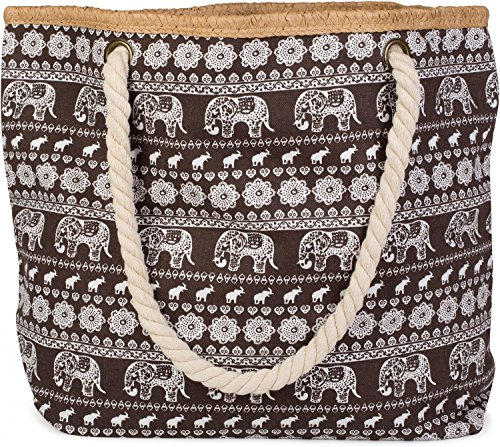 styleBREAKER Strandtasche mit Ethno Elefanten Muster und Reißverschluss, Schultertasche, Shopper, Damen 02012063, Farbe:Braun