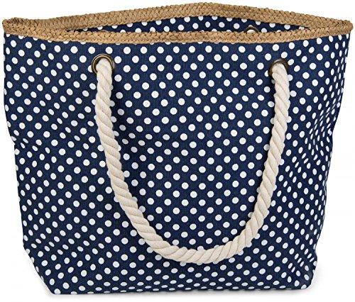 styleBREAKER Strandtasche mit Punkte Muster und Reißverschluss, kleiner Kosmetiktasche, Shopper, Damen 02012062, Farbe:Dunkelblau-Weiß
